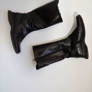 347d2370670 Sibil Z Black Leather Mid-calf Jack Boots Booties